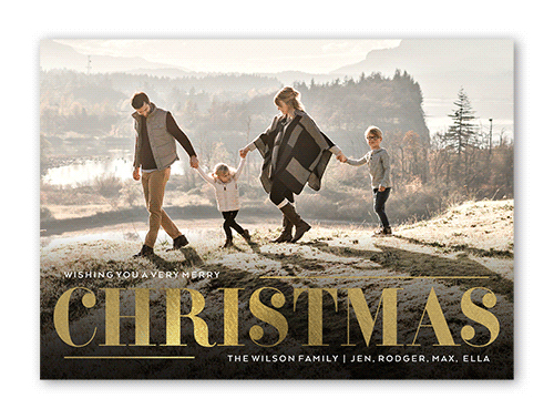 christmas card wording on a shutterfly example christmas card with a family of four