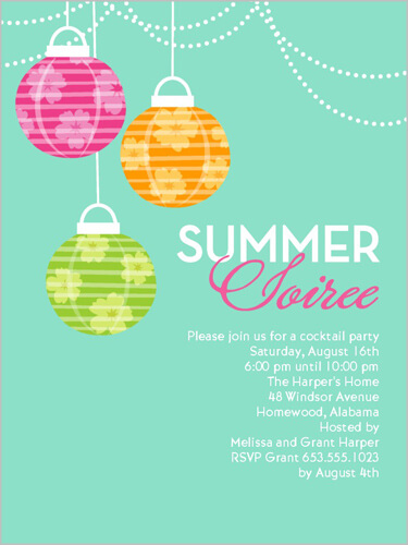pretty summer party invitation