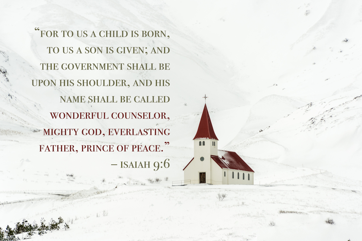 beautiful church among the mountains in winter with christmas bible verses