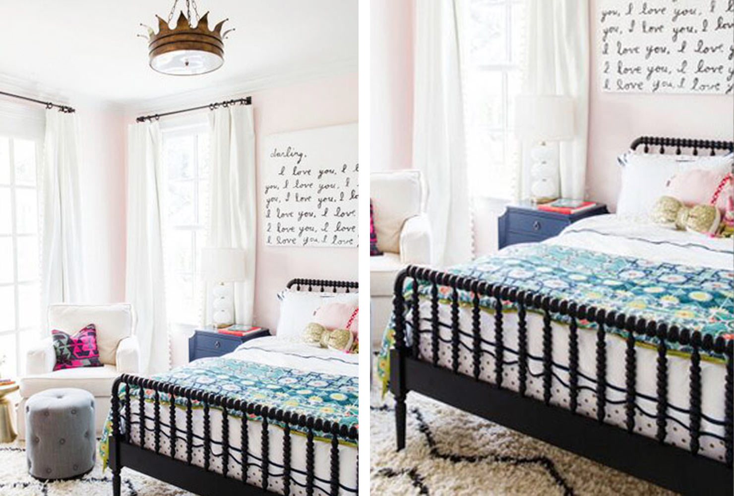 Little girls bedroom decor with colorful accents.