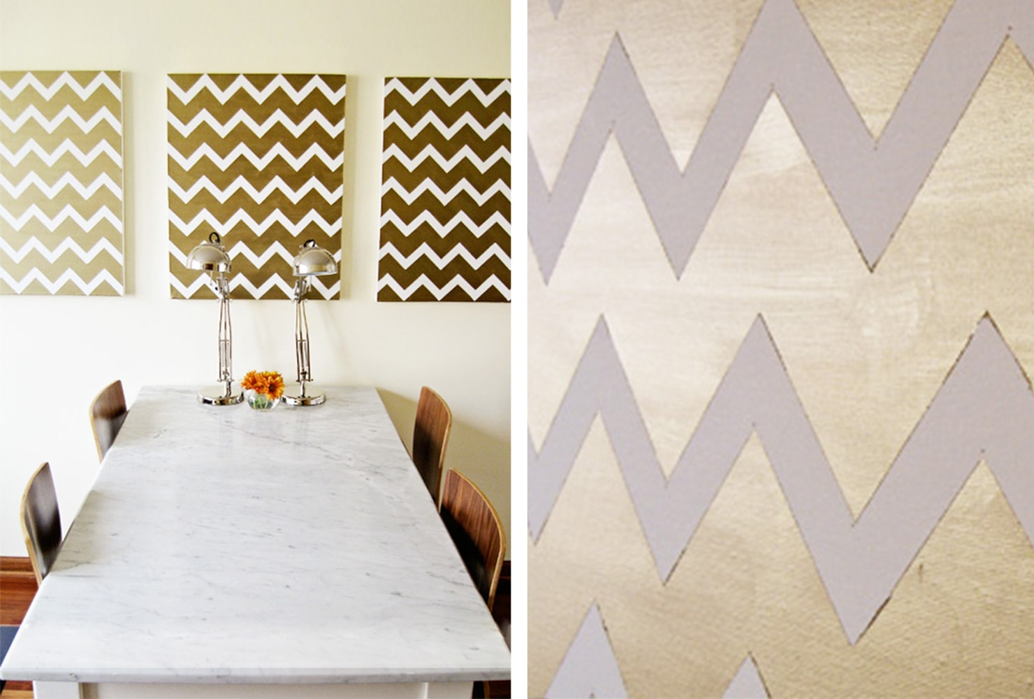 gold chevron design on canvas
