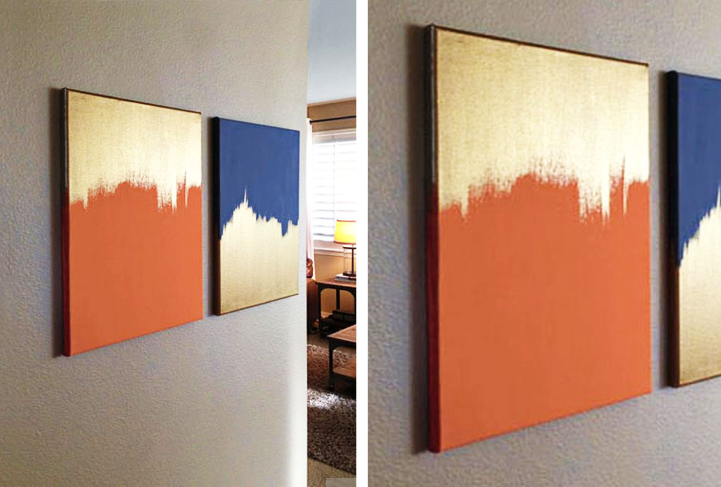 gold and colored paint on canvas