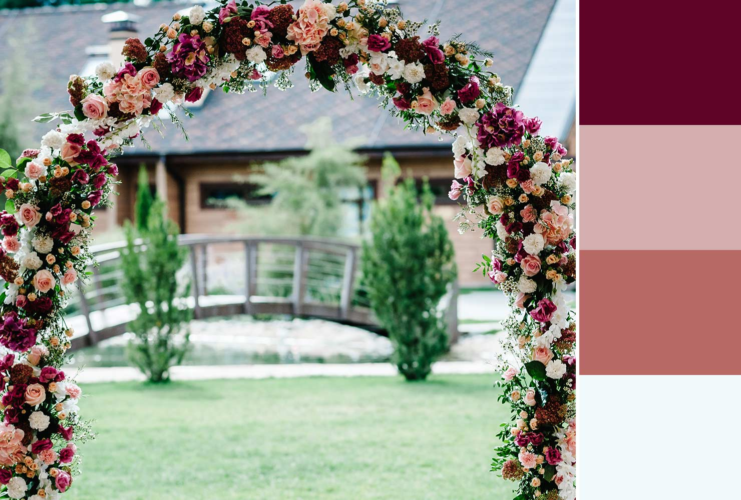 red and pink flower arch
