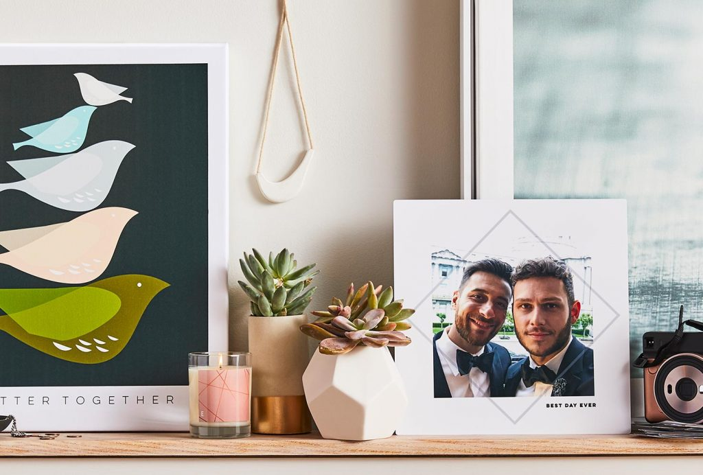 Photo art of two grooms and home decor